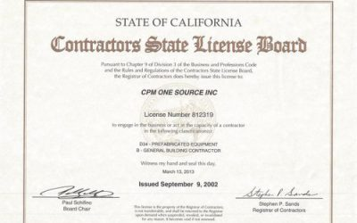 CPM One Source, Inc. Receives Contractors State License